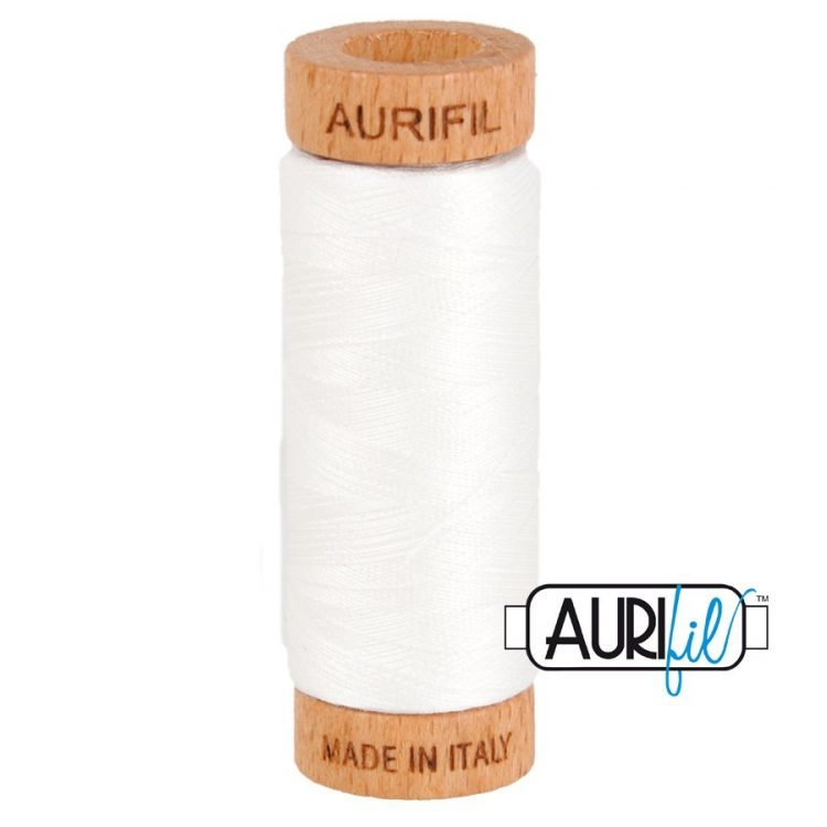 White 2021 80wt Aurifil Thread