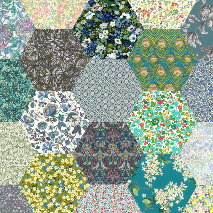 "2"" hexagons green - Liberty Tana Lawn Pre-cuts - The Strawberry Thief"