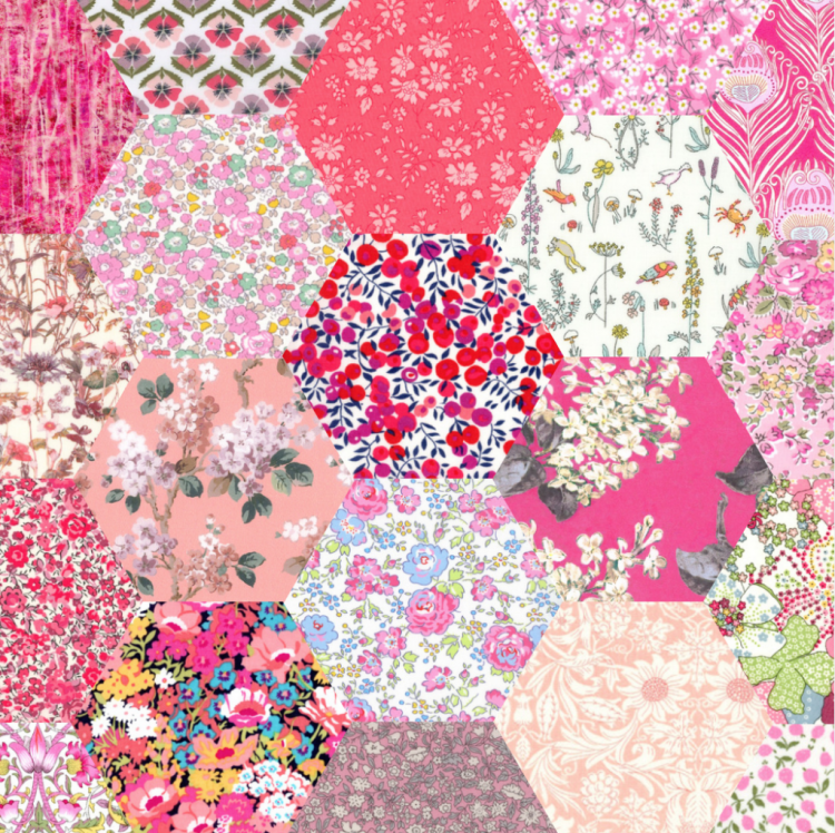 """2"""" hexagons pink - Liberty Tana Lawn Pre-cuts - The Strawberry Thief"""