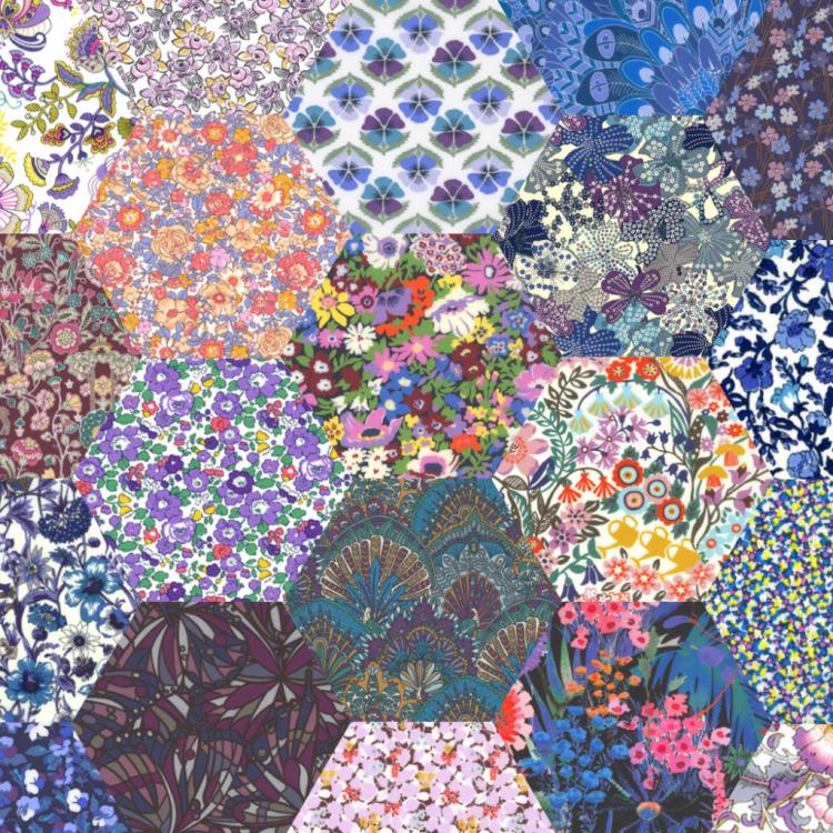 "2"" hexagons purple - Liberty Tana Lawn Pre-cuts - The Strawberry Thief"
