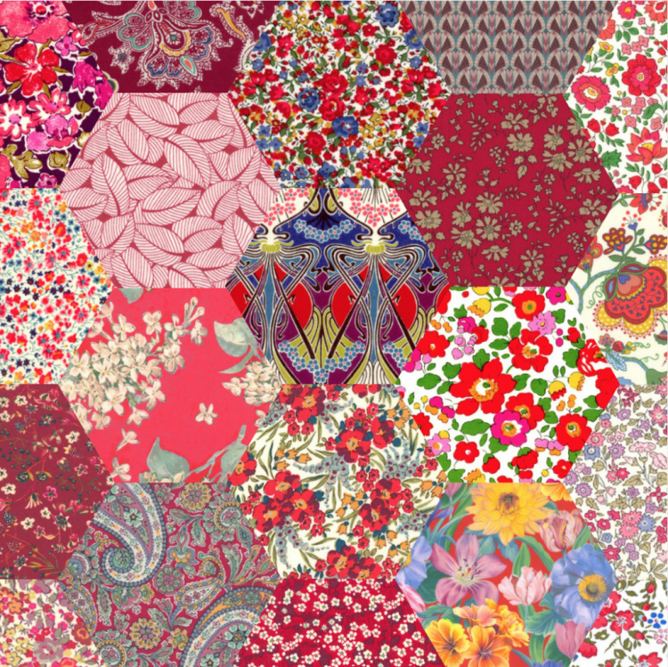 "2"" hexagons red - Liberty Tana Lawn Pre-cuts - The Strawberry Thief"