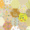 "2"" hexagons yellow - Liberty Tana Lawn Pre-cuts - The Strawberry Thief"