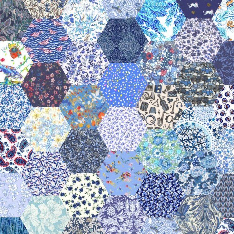 "1"" hexagons blue - Liberty Tana Lawn Pre-cuts - The Strawberry Thief"