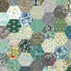 "1"" hexagons green - Liberty Tana Lawn Pre-cuts - The Strawberry Thief"