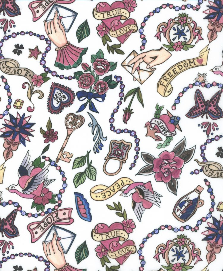 Love Letters C - Liberty Tana Lawn SS20 - From London with Love - Liberty of London