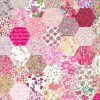 "1"" hexagons pink - Liberty Tana Lawn Pre-cuts - The Strawberry Thief"