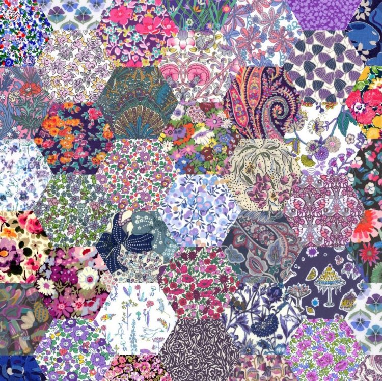 "1"" hexagons purple - Liberty Tana Lawn Pre-cuts - The Strawberry Thief"