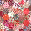 """1"""" hexagons red - Liberty Tana Lawn Pre-cuts - The Strawberry Thief"""