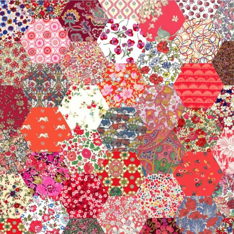 "1"" hexagons red - Liberty Tana Lawn Pre-cuts - The Strawberry Thief"