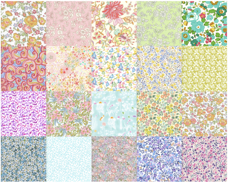 Charm Squares Pale Rainbow - Liberty Tana Lawn