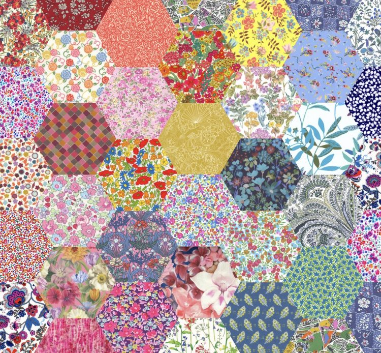 "1"" hexagons bold rainbow - Liberty Tana Lawn Pre-cuts - The Strawberry Thief"