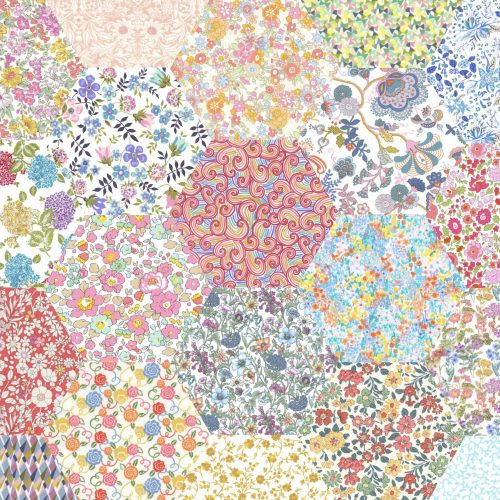 2 inch Hexagons – Pale Rainbow