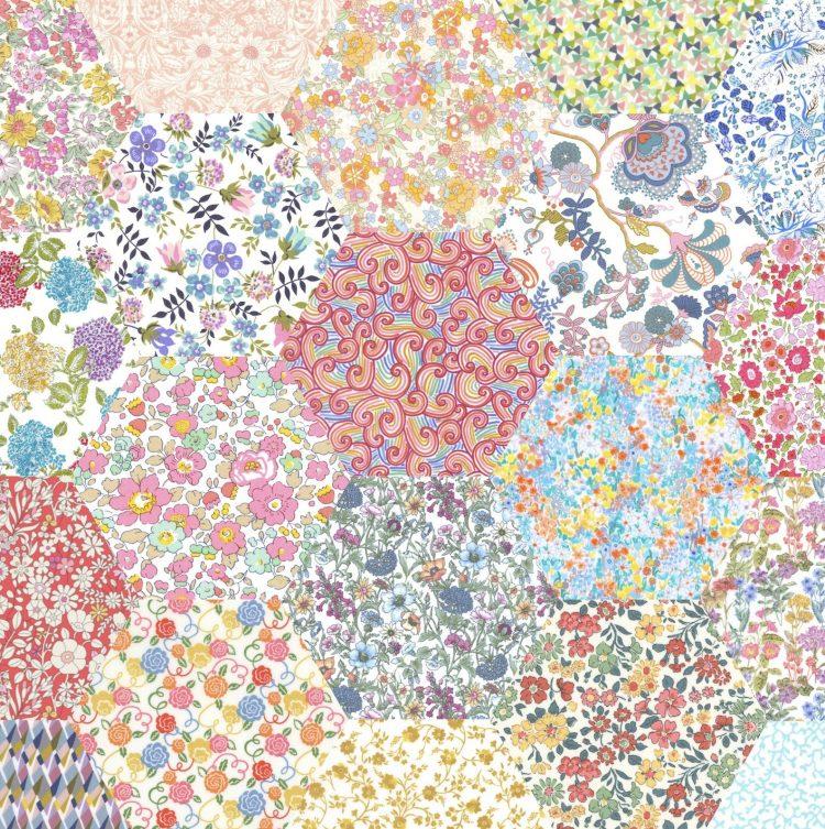 "2"" hexagons pale rainbow - Liberty Tana Lawn Pre-cuts - The Strawberry Thief"