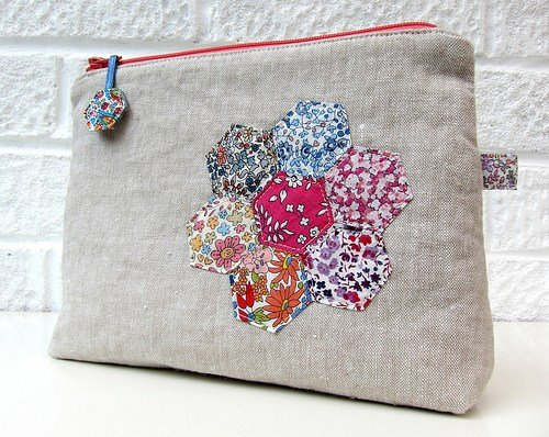 Super cute pouch created with Liberty Tana Lawn hexagons and linen by The Strawberry Thief