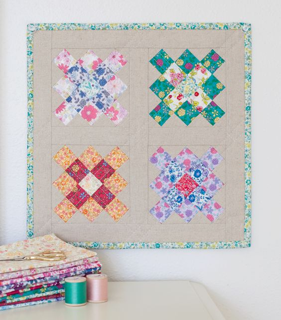 Quilt with linen background