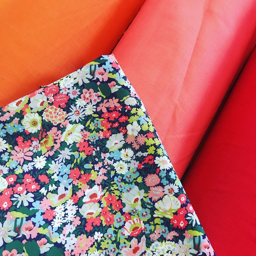 Thorpe C Liberty Tana Lawn with Orange Peel Linen by The Strawberry Thief