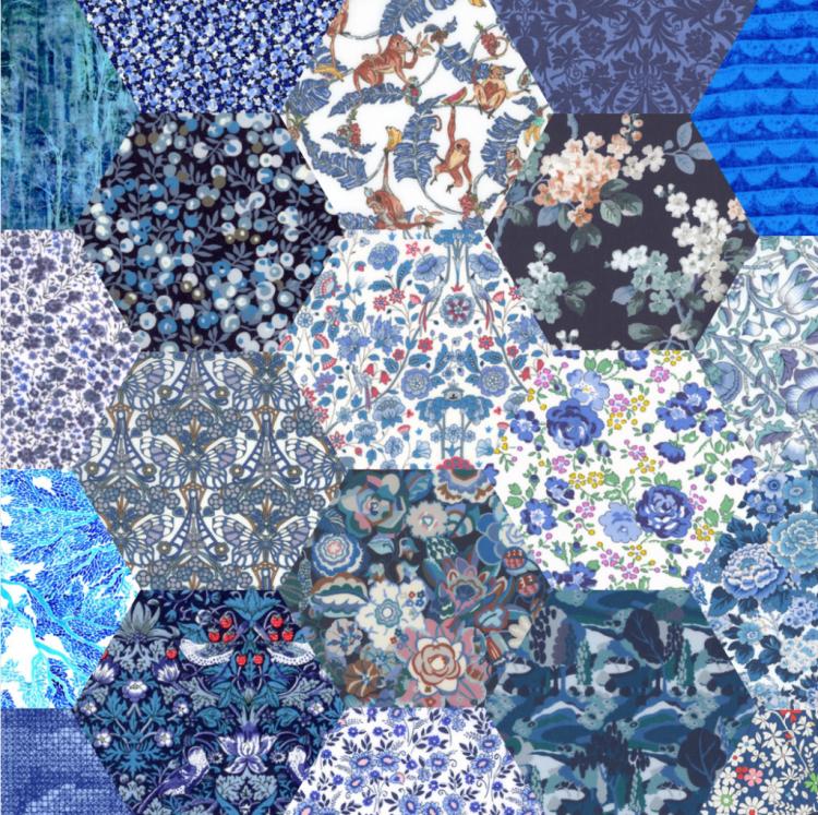 "2"" hexagons blue - Liberty Tana Lawn Pre-cuts - The Strawberry Thief"