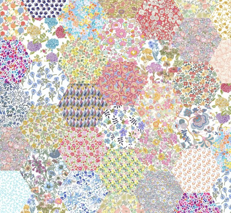 "1"" hexagons pale rainbow - Liberty Tana Lawn Pre-cuts - The Strawberry Thief"