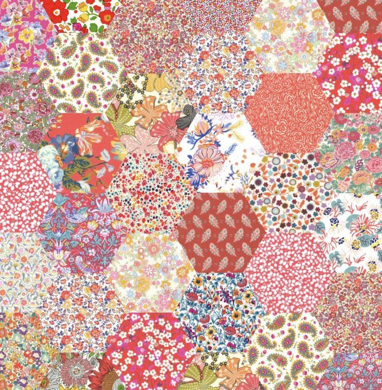 "1"" hexagons peachy orange - Liberty Tana Lawn Pre-cuts - The Strawberry Thief"