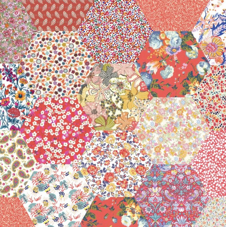 "2"" hexagons peachy orange - Liberty Tana Lawn Pre-cuts - The Strawberry Thief"
