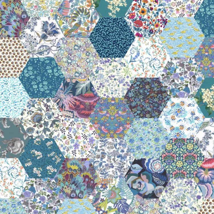 """1"""" hexagons teal - Liberty Tana Lawn Pre-cuts - The Strawberry Thief"""