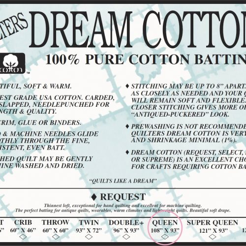 Quilters Dream Request Batting – White – Queen