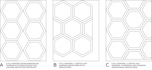 Cutting Guide: 2″ Hexagons from a Fat 16th