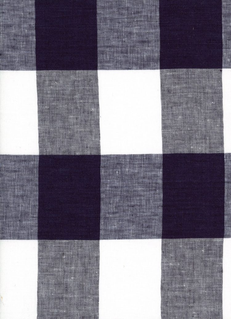 Gingham Linen - Ink - Extra Large