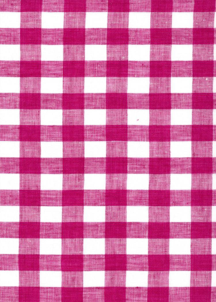 Gingham Linen - Raspberry